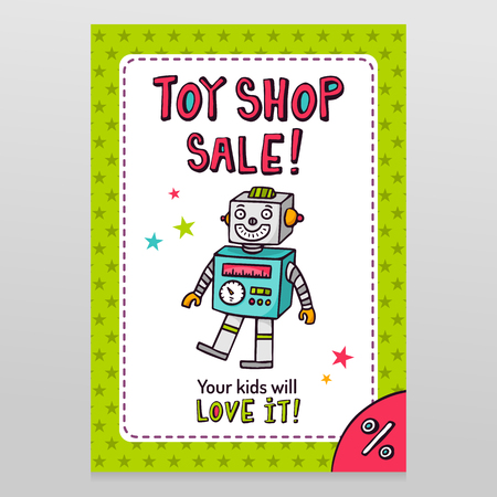 Toy shop bright vector sale flyer design with happy vintage toy robot isolated on white with green starry pattern background