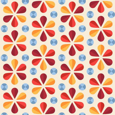 60's: Vector abstract seamless pattern with bright origami flowers and dots, 60s vintage retro style Illustration