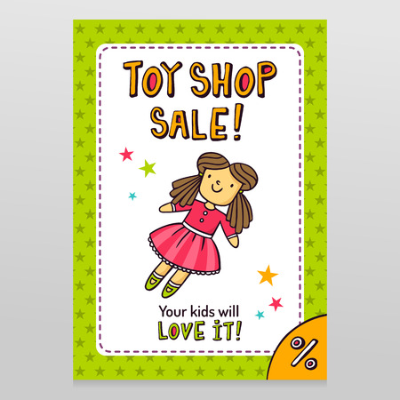 throwaway: Toy shop bright vector sale flyer design with cute doll in pink dress isolated on white with green starry pattern background Illustration