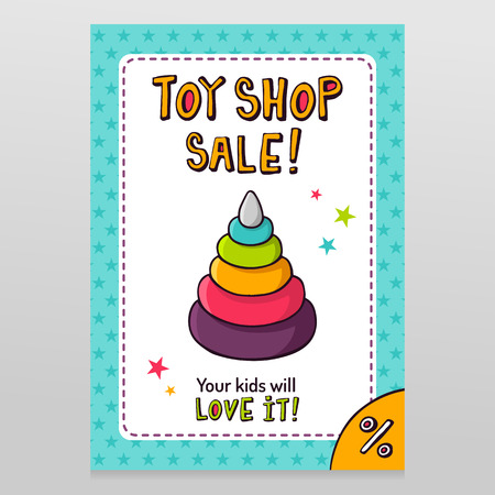 throwaway: Toy shop bright vector sale flyer design with toy pyramid with rings for kids isolated on white with blue starry pattern background