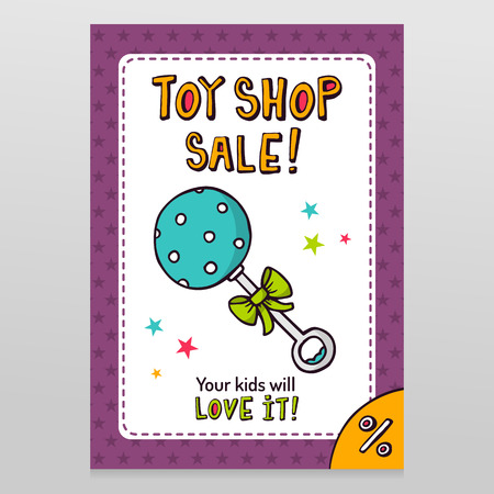 throwaway: Toy shop bright vector sale flyer design with blue dotted rattle isolated on white with purple starry pattern background