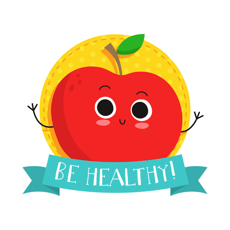 eco slogan: Apple, cute fruit vector character bagde, bright illustration on dotted round background with Be healthy! slogan Illustration