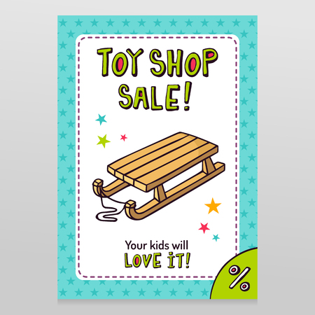 throwaway: Toy shop bright vector sale flyer design with kids wooden sleigh isolated on white with blue starry pattern background