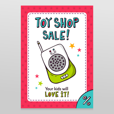 throwaway: Toy shop bright vector sale flyer design with baby monitor isolated on white with pink starry pattern background Illustration