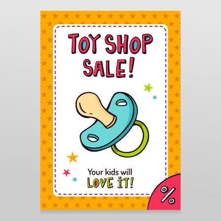 Toy shop bright vector sale flyer design with pacifier isolated on white with orange starry pattern background Illustration