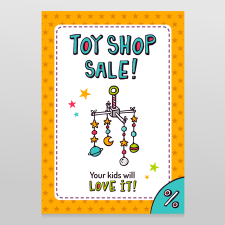 Toy shop bright vector sale flyer design with baby crib mobile isolated on white with orange starry pattern background Illustration