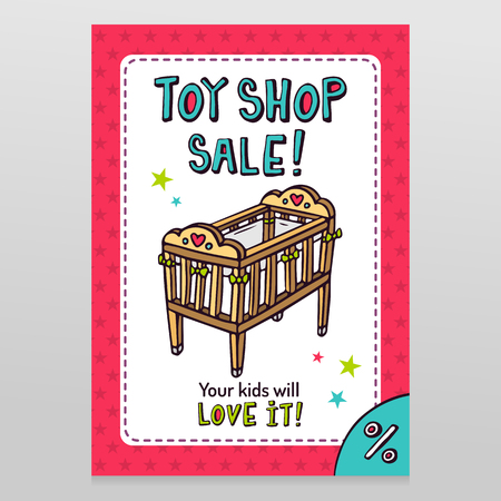 throwaway: Toy shop bright vector sale flyer design with baby crib - newborns cot - isolated on white with pink starry pattern background