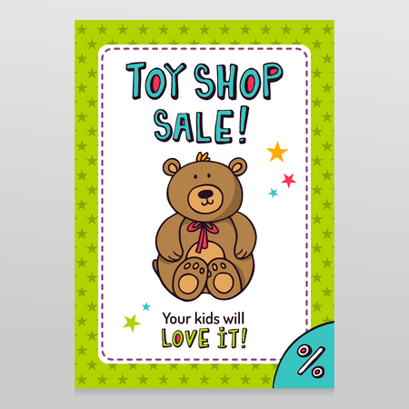 throwaway: Toy shop bright vector sale flyer design with Teddy bear - cute stuffed toy - isolated on white with green starry pattern background