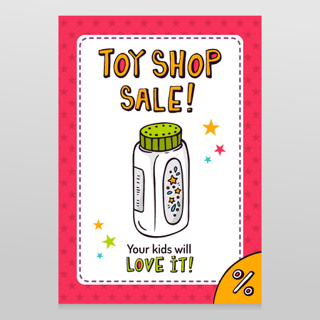 throwaway: Toy shop bright vector sale flyer design with baby powder bottle isolated on white with pink starry pattern background