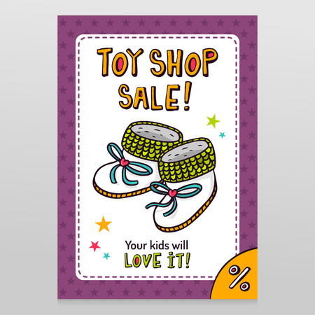 throwaway: Toy shop bright vector sale flyer design baby booties with isolated on white with purple starry pattern background