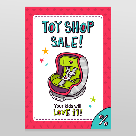 car seat: Toy shop bright vector sale flyer design with baby car seat isolated on white with pink starry pattern background
