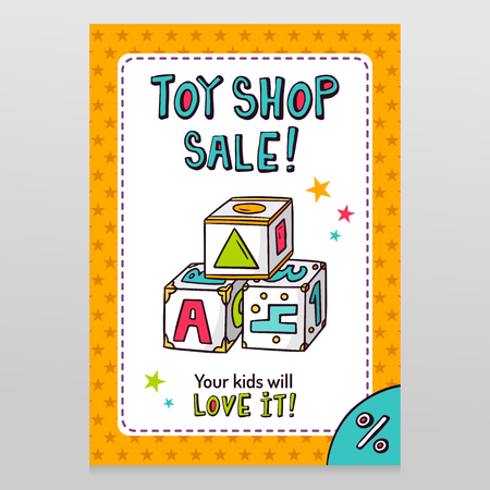 throwaway: Toy shop bright vector sale flyer design with toy blocks for learning letters, numbers and shapes isolated on white with orange starry pattern background