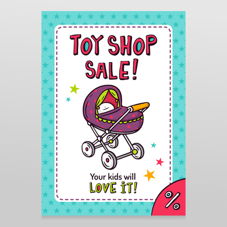 Toy shop bright vector sale flyer design with baby stroller isolated on white with blue starry pattern background
