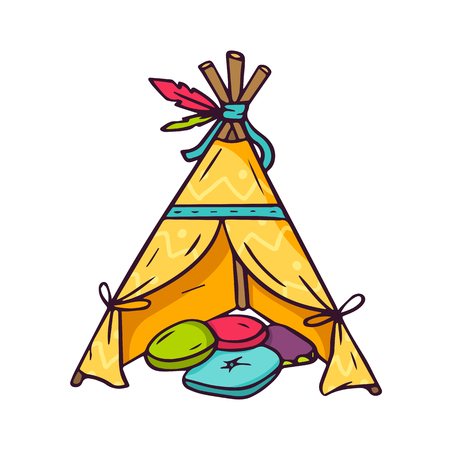 teepee: Indian wigwam for kids room, bright vector children illustration of colorful teepee and pillows inside isolated on white Illustration