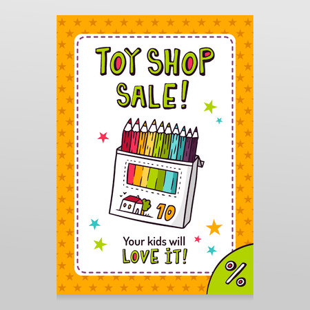 throwaway: Toy shop bright vector sale flyer design with box of colored pencils isolated on white with orange starry pattern background