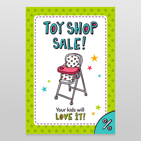 throwaway: Toy shop bright vector sale flyer design with high baby feeding chair isolated on white with green starry pattern background