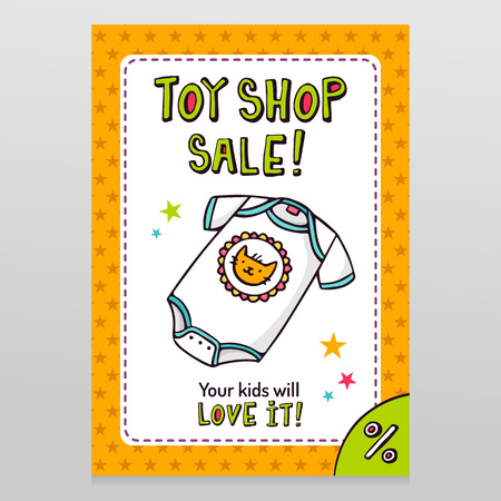 throwaway: Toy shop bright vector sale flyer design with cute baby bodysuit isolated on white with orange starry pattern background