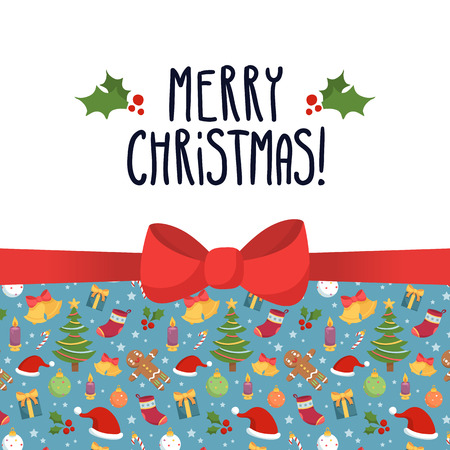 Vector Christmas greeting card design template with holiday symbols - stars, santa hats, bells, gifts, socks, christmas trees, decorations, candles, gingerbread men and holly- and cute bow
