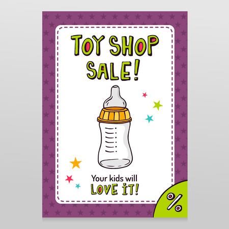 Toy shop bright vector sale flyer design with feeding bottle with dummy isolated on white with purple starry pattern background
