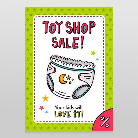 ropa interior: tienda de juguetes de diseño vector de la venta brillante folleto con pañales de bebé - ropa interior absorbente recién nacido - aisladas en blanco con fondo verde patrón estrellado