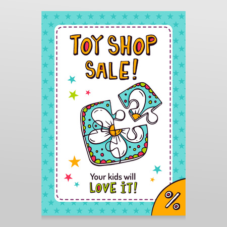 sale shop: Toy shop bright vector sale flyer design with toy jigsaw puzzle for kids with flower drawing isolated on white with blue starry pattern background