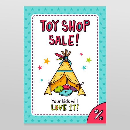 Toy shop bright vector sale flyer design with Indian wigwam for kids isolated on white with starry blue pattern background