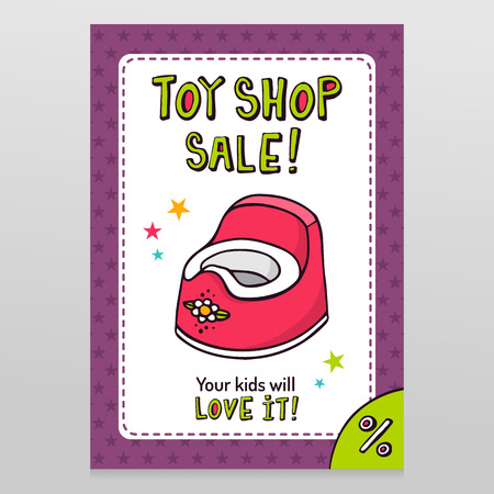 throwaway: Toy shop bright vector sale flyer design with pink baby potty isolated on white with purple starry pattern background