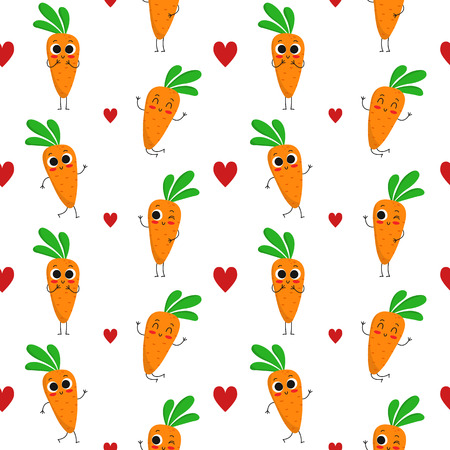 Carrots, vector seamless pattern with cute vegetable characters and hearts isolated on white Illustration