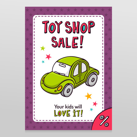 throwaway: Toy shop bright vector sale flyer design with green toy car isolated on white with purple starry pattern background
