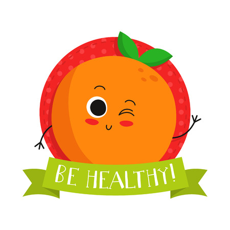 eco slogan: Orange, cute fruit vector character bagde, bright illustration on dotted round background with Be healthy! slogan Illustration