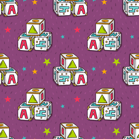 toy blocks: Vector seamless pattern with baby toy blocks and stars