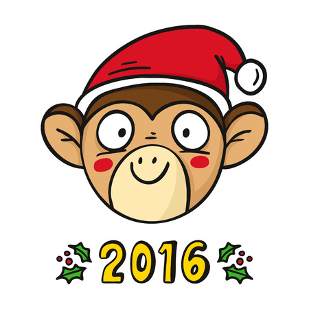 chinese holly: Monkey in Santas hat, chinese new year 2016 symbol, cute vector character isolated on white with holly