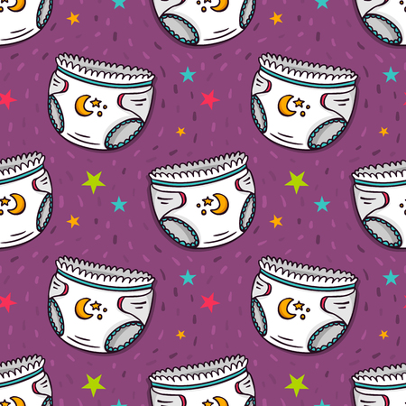 baby underwear: Vector seamless pattern with diapers and stars, cute baby underwear