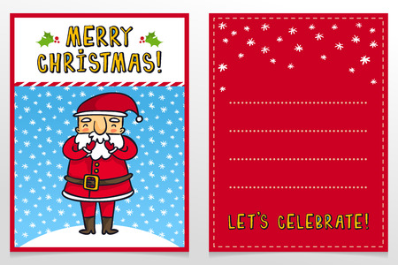 father frost: Funny Santa Claus vector Christmas greeting card design template with cute Father Frost cartoon character laughing on snowy background and holiday wishes
