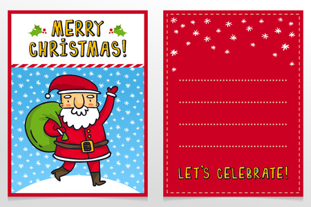 father frost: Funny Santa Claus vector Christmas greeting card design template with cute Father Frost cartoon character carrying green sack with presents and waving on snowy background and holiday wishes
