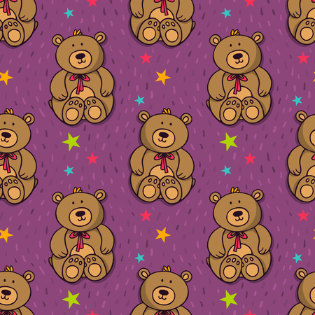 stuffed: Vector seamless pattern with teddy bear - cute stuffed toy - and stars Illustration