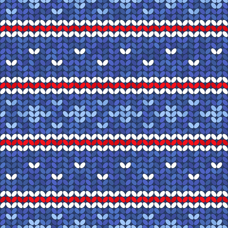 craft ornament: Vector knitted blue seamless pattern with red and white decorative ornament, knitting craft background