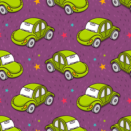 Vector seamless pattern with cute green toy beetle car and stars Vectores