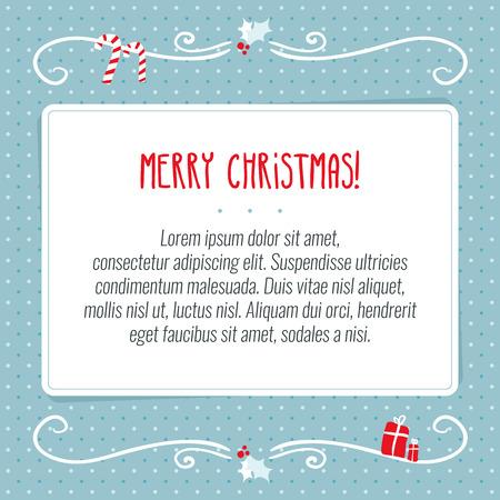 nouvel an: carte de voeux mod�le de conception vecteur Joyeux No�l avec du papier blanc pour le texte sur fond bleu parsem� de vacances ornements d�coratifs