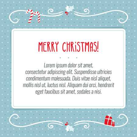 new year background: Vector Merry Christmas greeting card design template with white paper for text on dotted blue background with holiday decorative ornaments