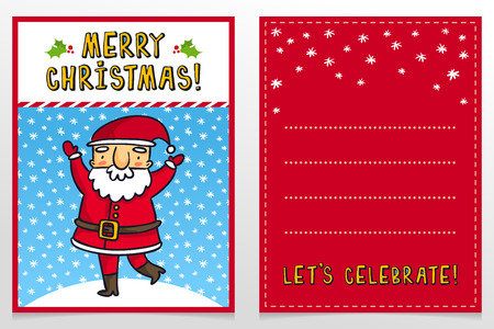 father frost: Funny Santa Claus vector Christmas greeting card design template with cute Father Frost cartoon character waving on snowy background and holiday wishes Illustration
