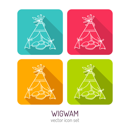 white house: Vector line art wigwam icon set in four color variations with flat style long shadows, baby store web interface design elements isolated on white Illustration