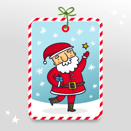 claus: Santa Claus, cute vector gift tag with cartoon Christmas and New Year character on snowy background