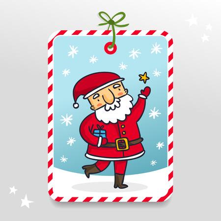 papa noel: Santa Claus, lindo etiqueta de regalo del vector con el personaje de dibujos animados de Navidad y Año Nuevo en el fondo cubierto de nieve