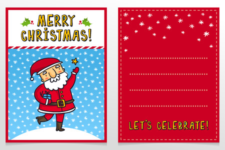 father frost: Funny Santa Claus vector Christmas greeting card design template with cute Father Frost cartoon character catching star on snowy background and holiday wishes