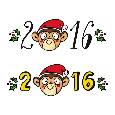 chinese holly: Monkey in Santas hat, chinese new year 2016 symbol, cute vector character isolated on white with lettering and holly