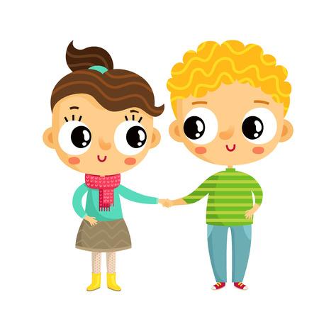 Cartoon vettore ragazza e ragazzo si tengono per mano, simpatici personaggi isolati su bianco Vettoriali