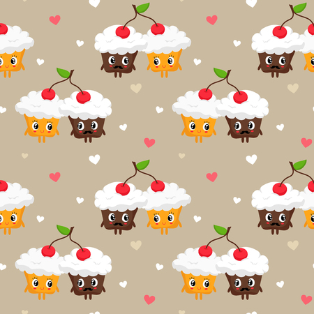 couple background: Romantic vector seamless pattern with cute pair of cupcakes with whipped cream sharing cherry and hearts, St. Valentines Day greeting card background Illustration