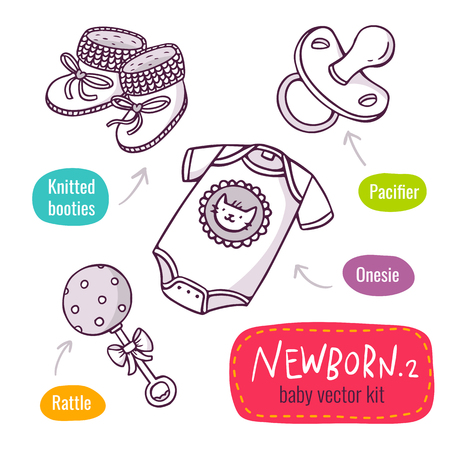 baby clothing: Vector line art icon set with baby products for newborns - knitted booties, pacifier, onesie and toy rattle - isolated on white Illustration