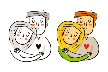 girl happy: Cute freehand cartoon vector cuddling couple in love, bright St. Valentines Day characters sketch in monochrome and in color isolated on white Illustration